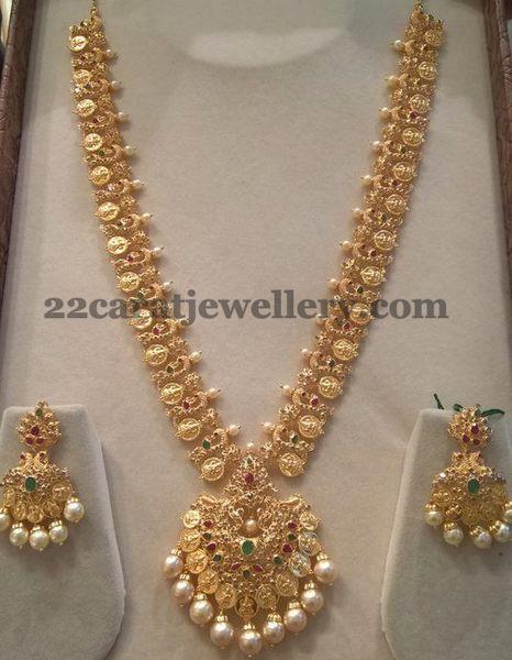 Adorable Lakshmi Peacock Haram Jewellery Designs