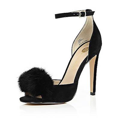 River Island Black heels with pom pom on top