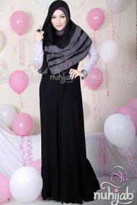 Nuhijab Dress Plain Rample (DPR) - Black (Toko Jilbab dan Busana Muslimah Terbaru)