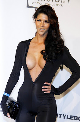 Micaela Schaefer Nipple Slip And Exposing Full Cleavage In A Skanky See-Through Outfit
