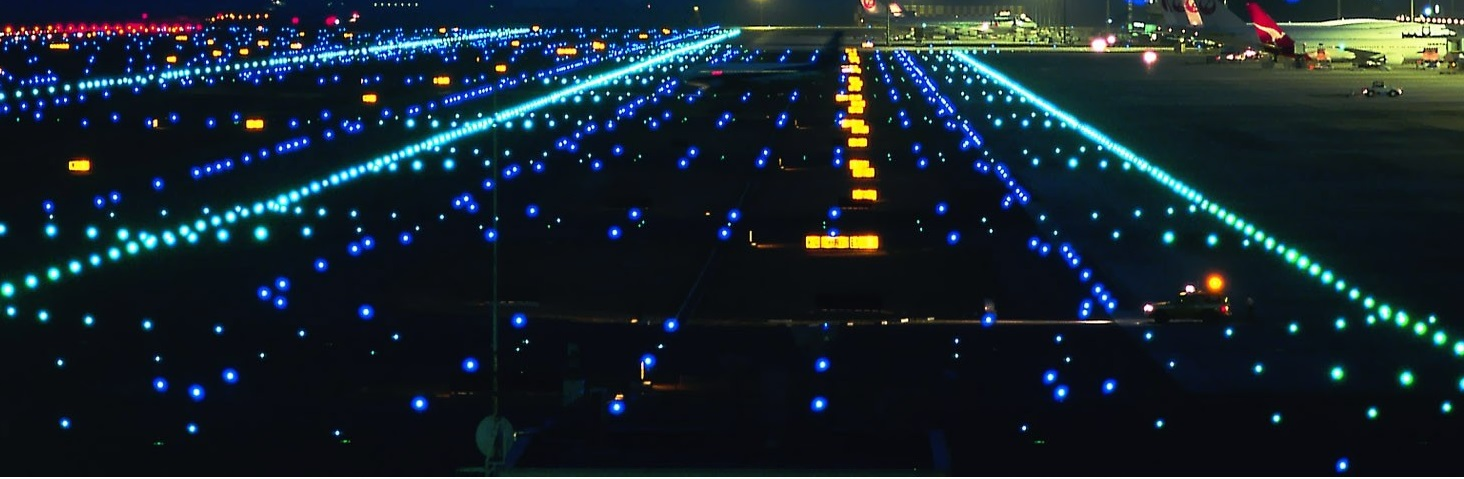 Airport runway lights at night