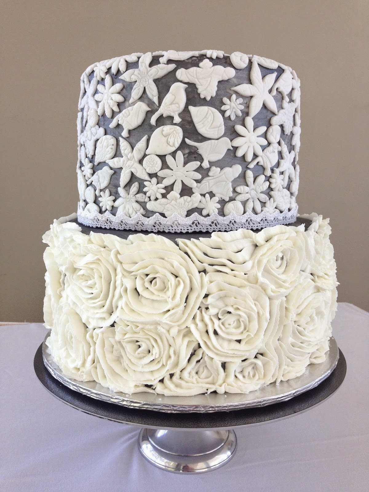 Silver And White Wedding Cake Constancia Cape Town