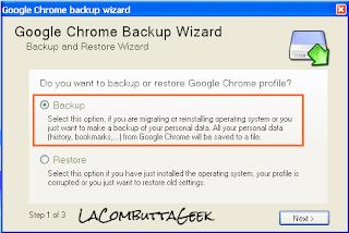 Scegliamo l'opzione Backup