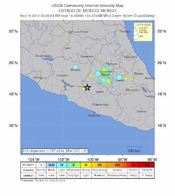 Epicentro sismo 6,0 grados en México, el 15 de Noviembre 2012
