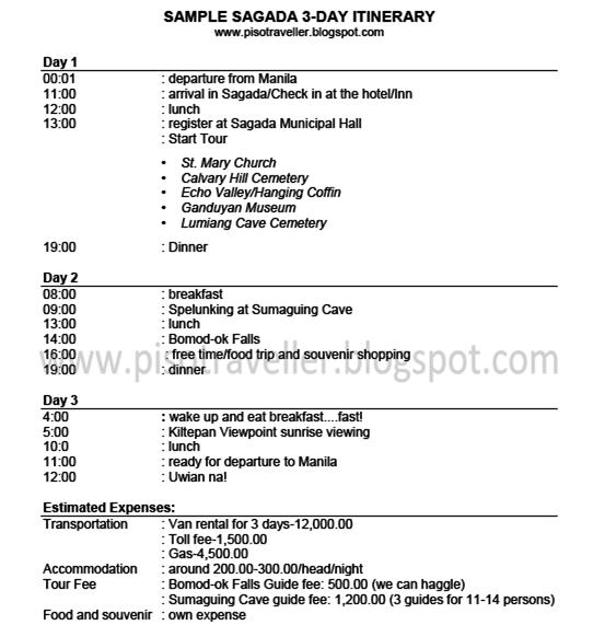 Piso Traveller Sample Sagada 3D2N Itinerary – Itinerary Sample