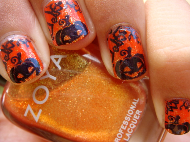 Posh for polish halloween nail art series pumpkin nails prinsesfo Choice Image