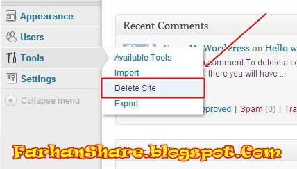 how to delete wordpress com blog