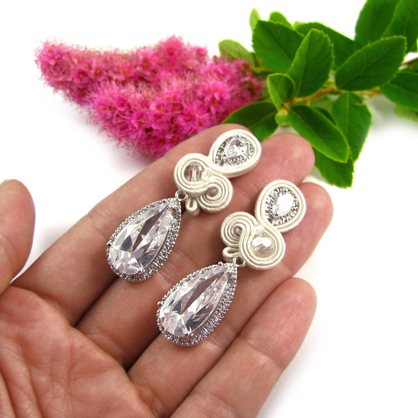 Kolczyki ślubne sutasz z kryształami Novia Blanca