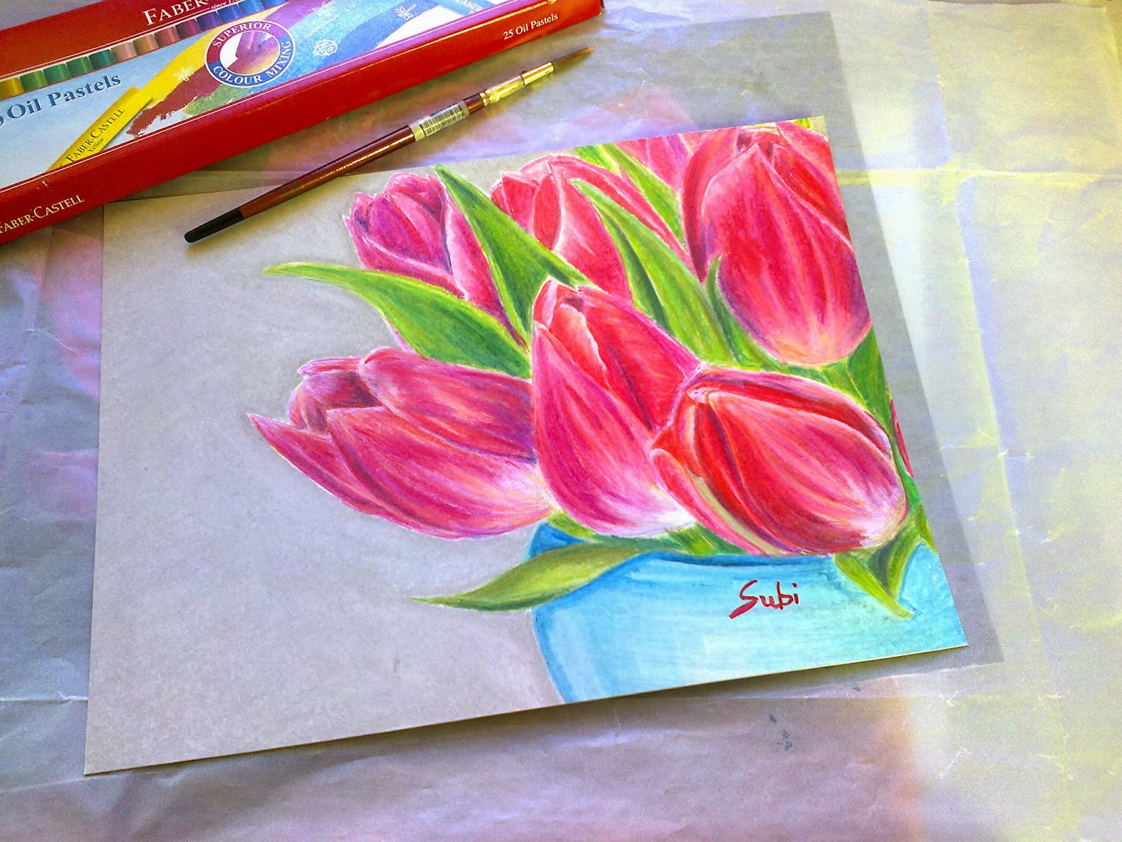 Oil Pastel Tulips Doctoring In Arts: Rose Tulips Oil Pastel Drawing  Colour Pencil Sketches Of