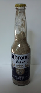 sand and seashell from sandbridge in a bottle