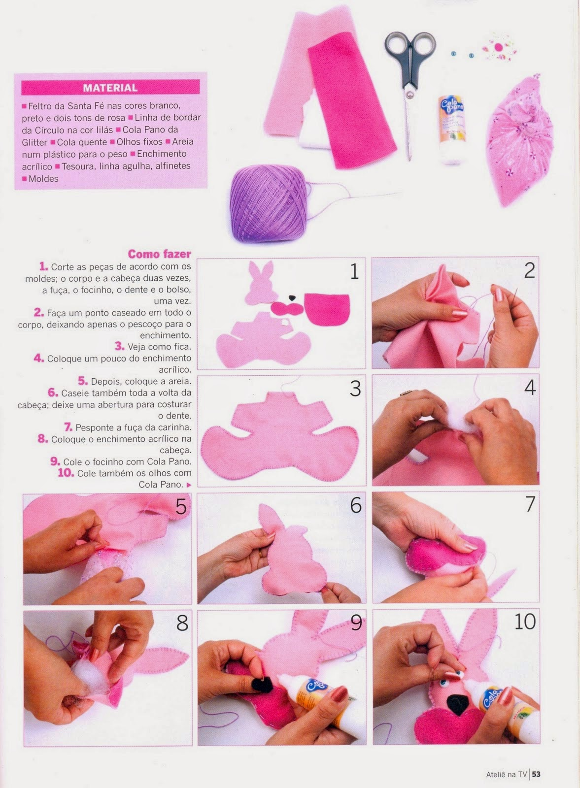 Moldes coelhinho rosa de feltro
