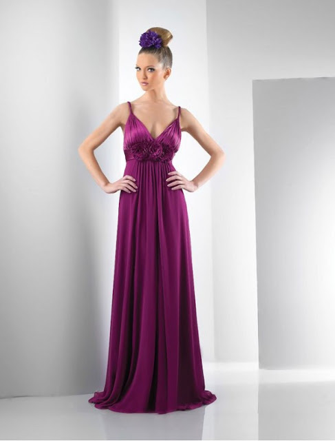 Charmeuse V-Neckline A-Line Bridesmaid Dress with Flower Embellished Waist