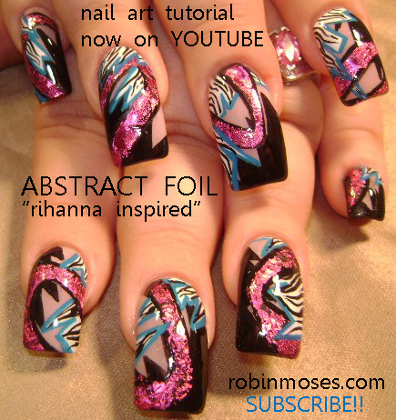 Pink And Black Zebra And Foil Nail Art Design Nicki Minaj Nail Art
