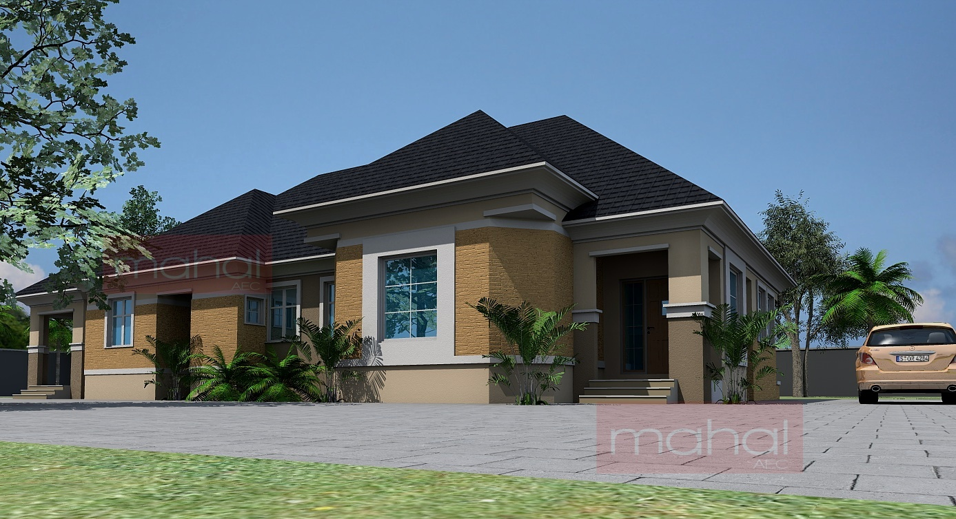 Contemporary nigerian residential architecture 4 bedroom Four bedroom bungalow plan