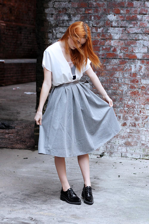 grey midi skirt