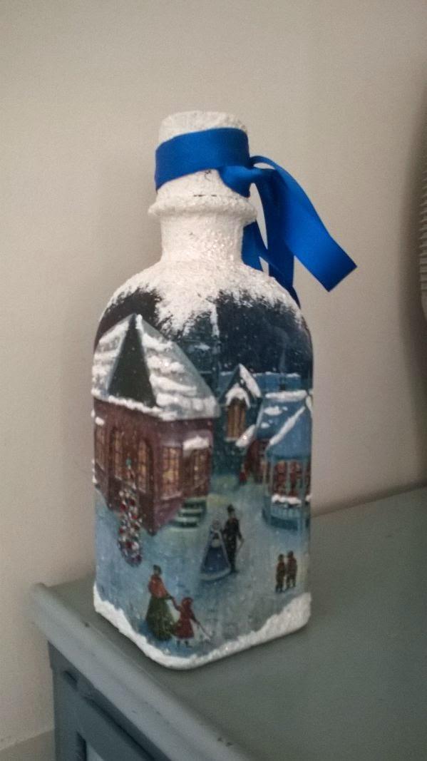 Manualidades san roque botellas navide as decoradas por laudi - Botellas decoradas navidenas ...
