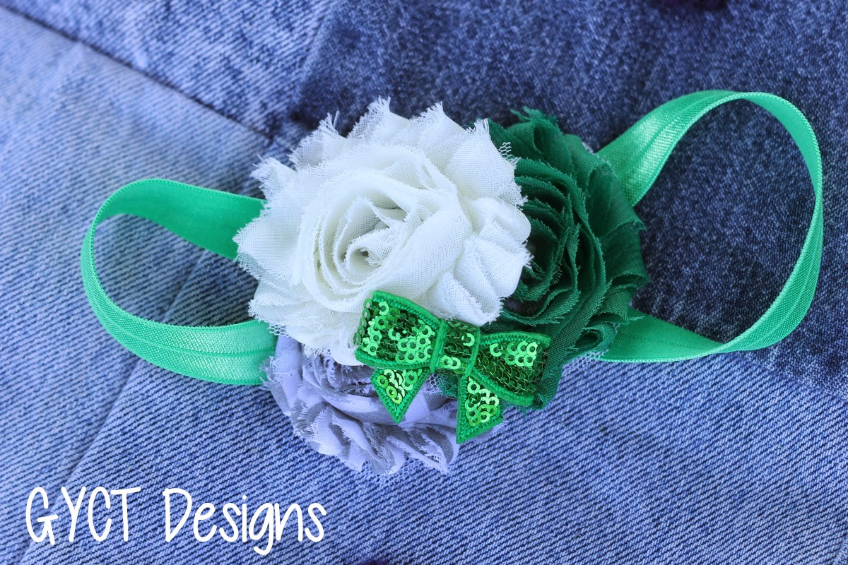 Shabby Green & Cream Bow by GYCT