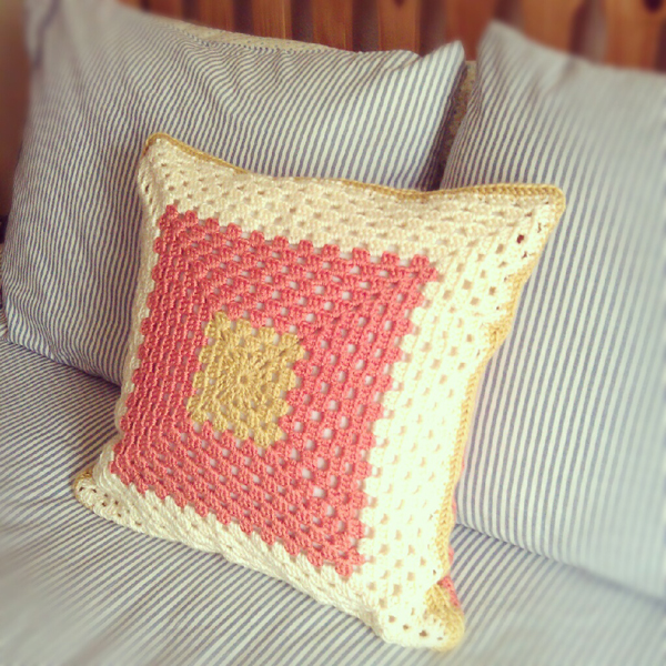 On The Brightside Handmade Granny Square Pillow