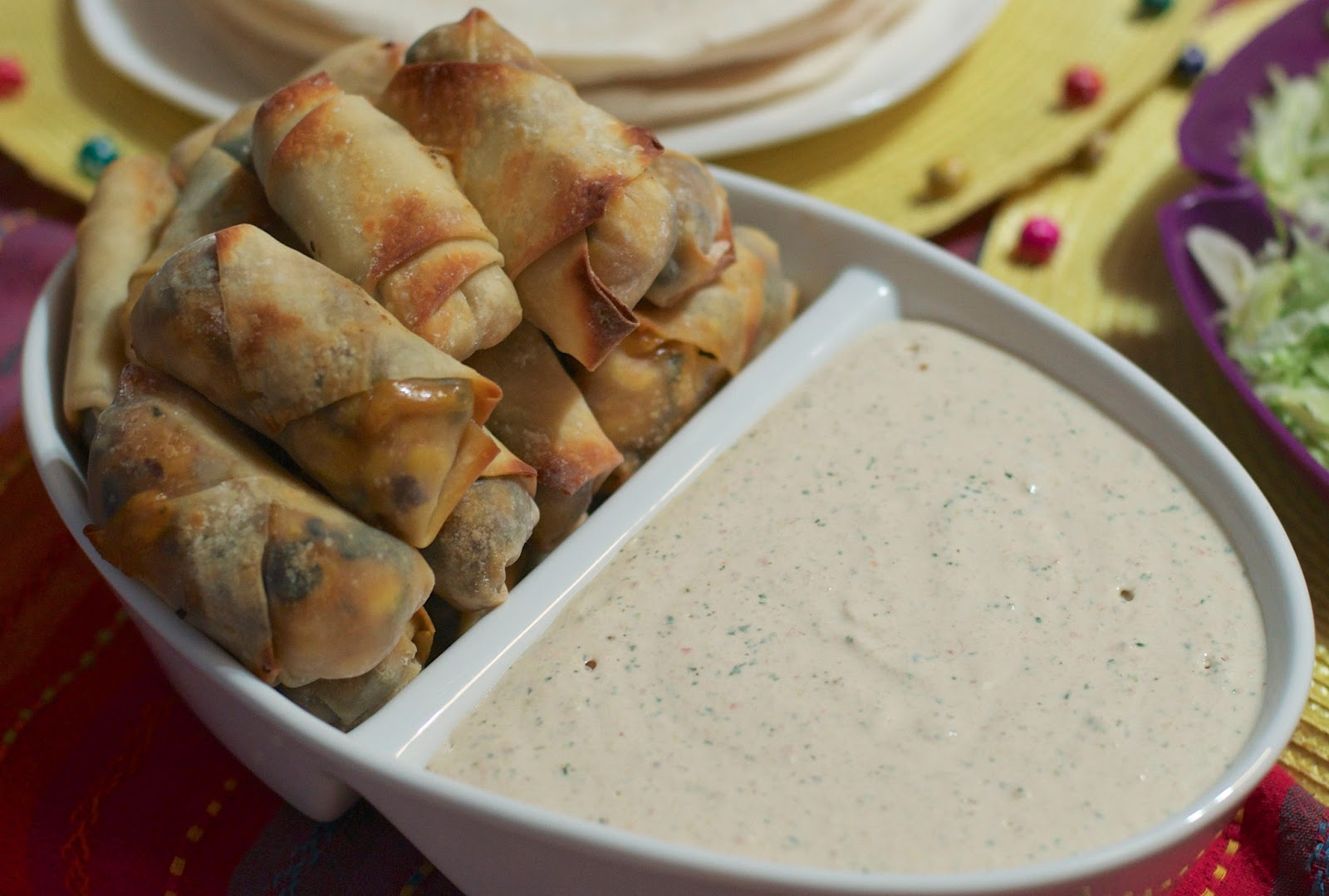 ... by Alicia Rose: Southwestern Egg Rolls with Southwest Ranch Dip