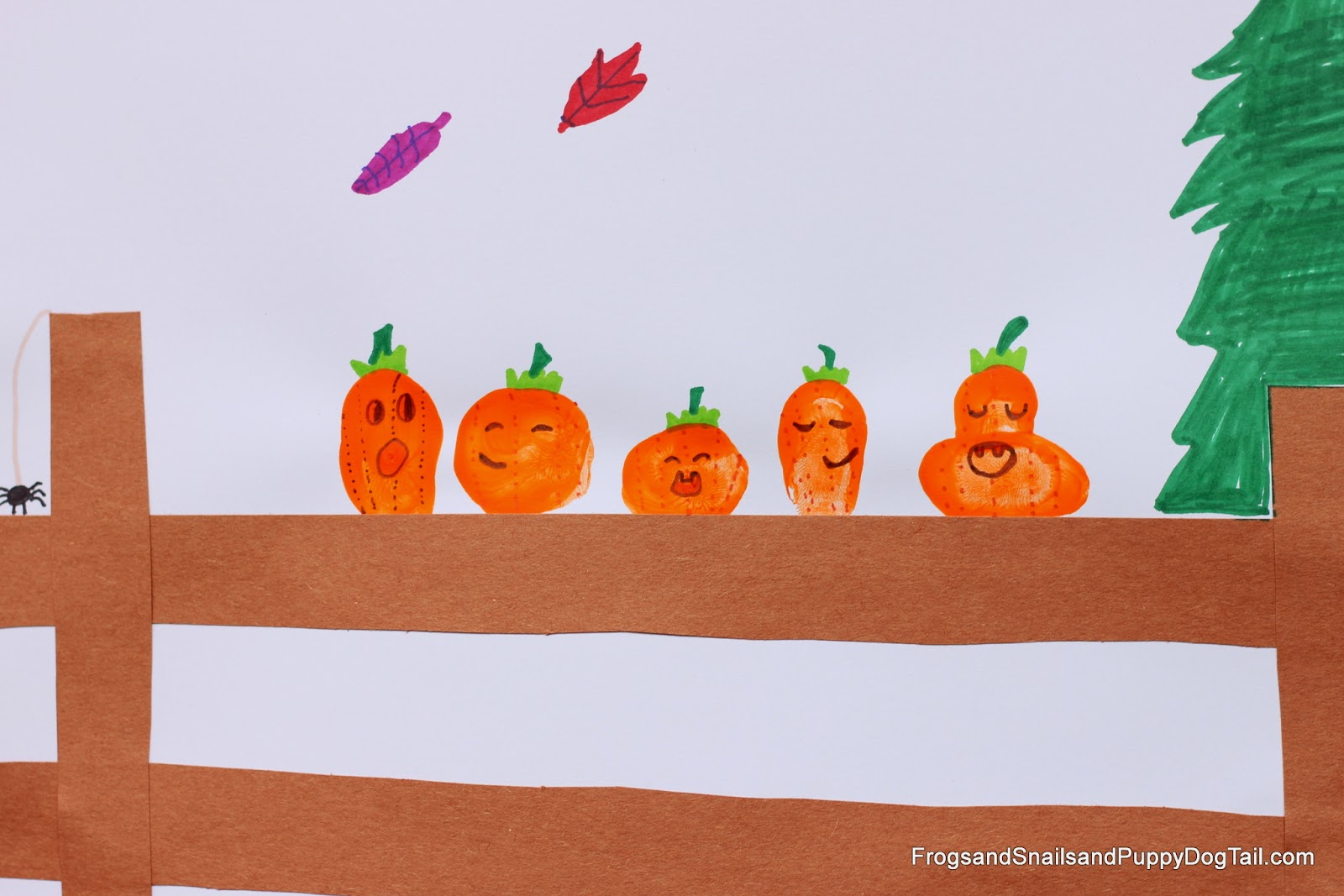 Fingerprint Pumpkin Art for Five Little Pumpkins