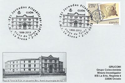 Tarjeta Grucomi con matasellos 125 aniversario Plaza de Toros de Gijón