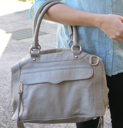 Rebecca Minkoff soft grey MAM worn on arm mini MAB bag