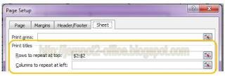 Set Print Titles Row Repeat di MS Excel 2010