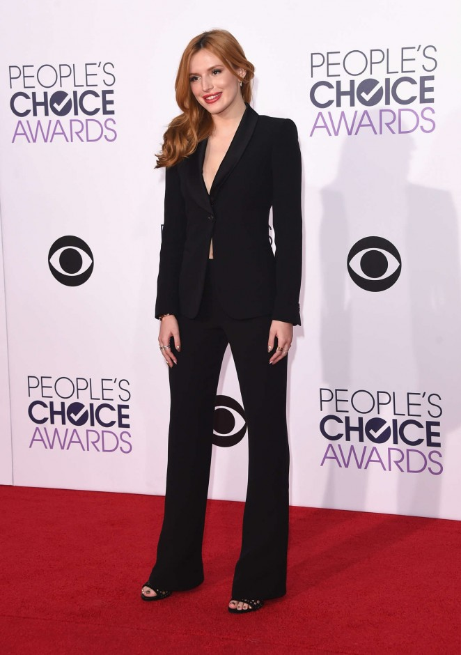 Bella Thorne in a black Giorgio Armani pant suit at the 2015 People's Choice Awards in LA