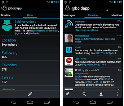 Boid Twitter app for Android ICS