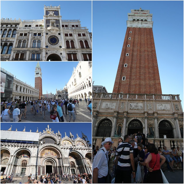 From top left clockwise- Clock tower, Bell tower, St Mark Basilica and St Mark Square are the most popular landmarks which can be seen from the dock in Venice, Italy