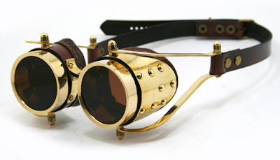 Gold brass and brown leather steampunk goggles