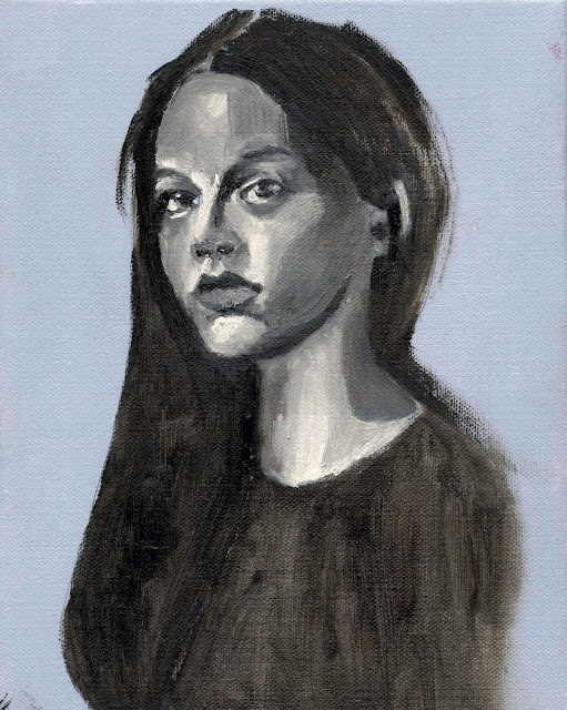 portrait, grisaille, painting, black and white, oil, toronto artist