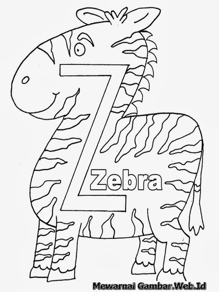 Belajar Mewarnai Huruf Alfabet Z - Zebra