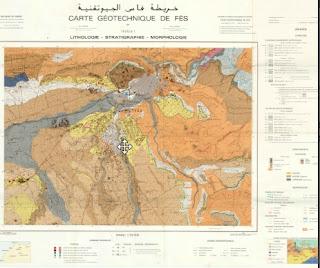 Carte Géotechnique de Fès (Lithologie, Stratigraphie, Morphologie)  الخريطة الجيوتقنية لفاس ( الصخارة والتطبق والمورفولوجية)