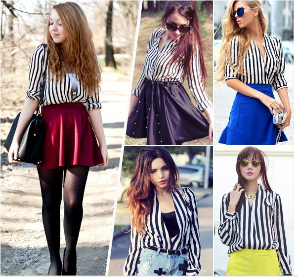 white and black fluid striped shirt