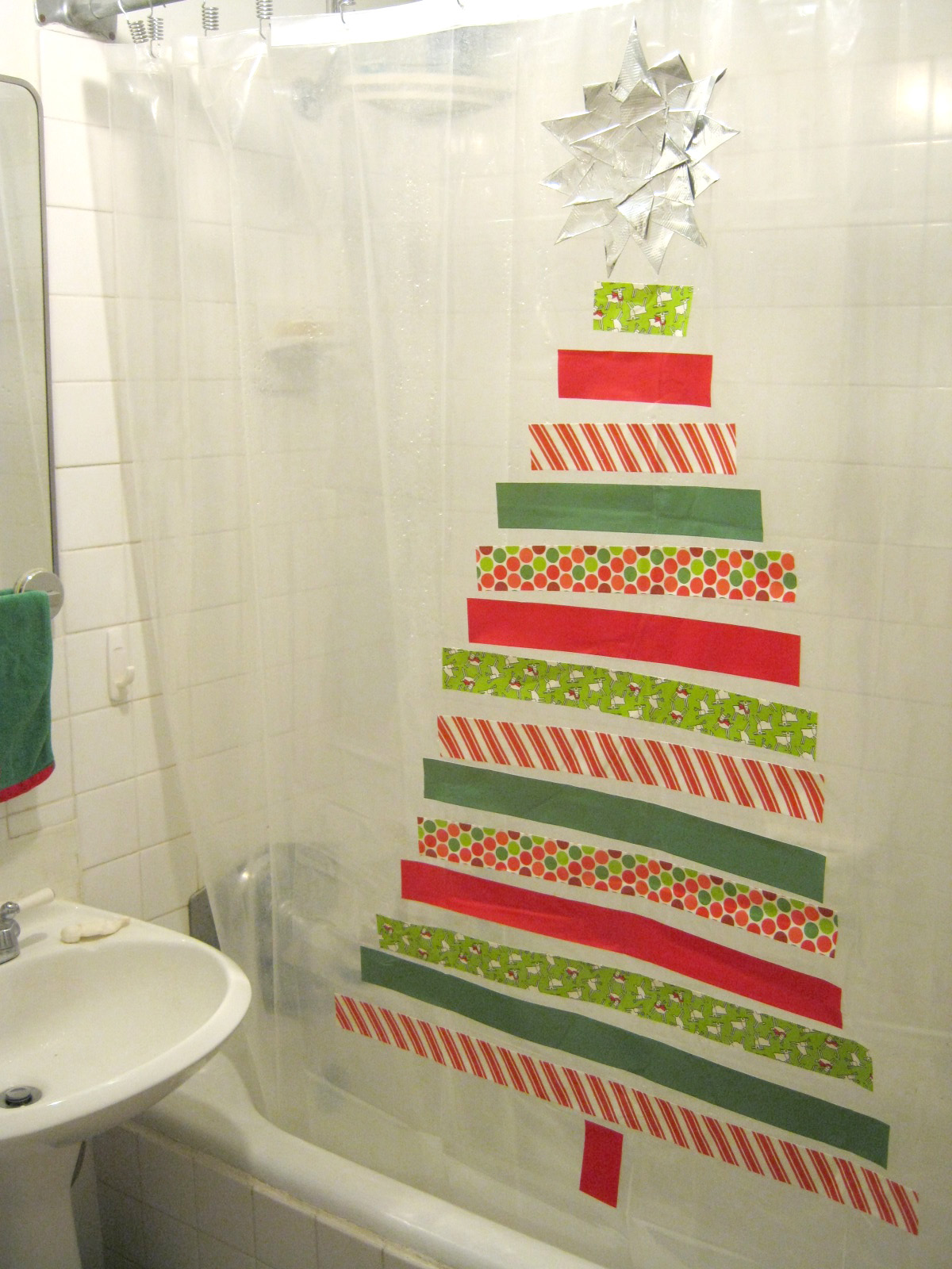 Sweater Surgery: How to make a Duck Tape Christmas tree shower ...