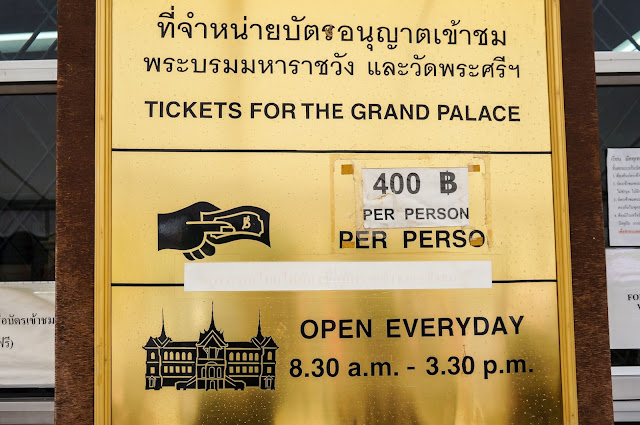 Grand palais à Bangkok, prix du ticket
