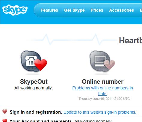 capture d'écran Web - Skype Heartbeat
