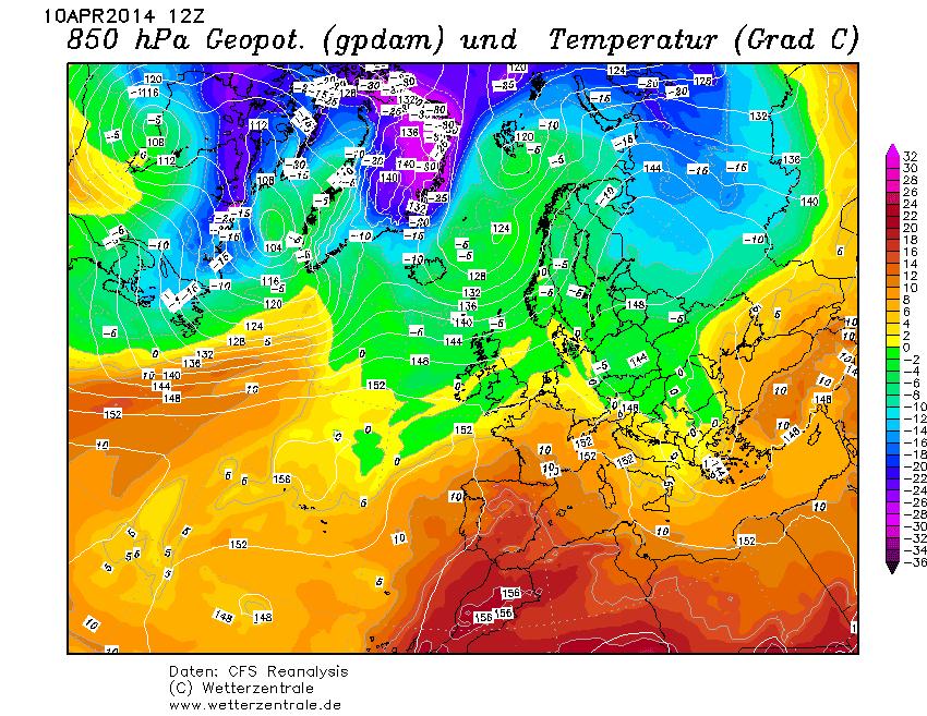 Situación a 850 hPa en Europa el día 10 de abril de 2014.