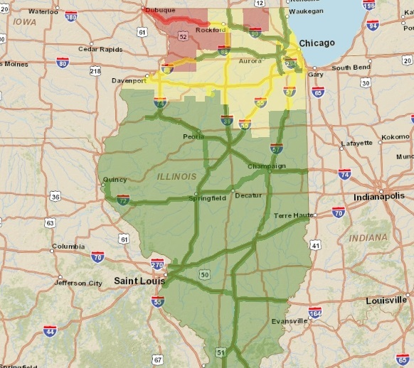 Locations Shaded In The Red And Yellow Are Where Current Road Conditions Are Poor That Includes The Northern Third Of Illinois Multiple Spin Outs Have
