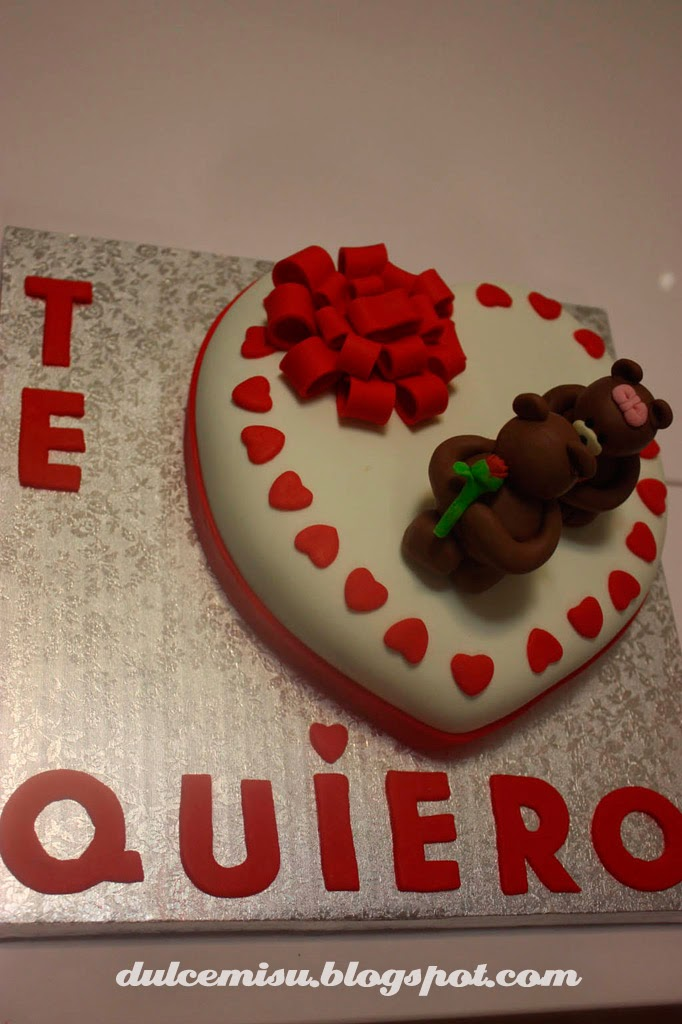 tarta, corazón, san valentin, fondant, dulcemisu, lacito, ositos