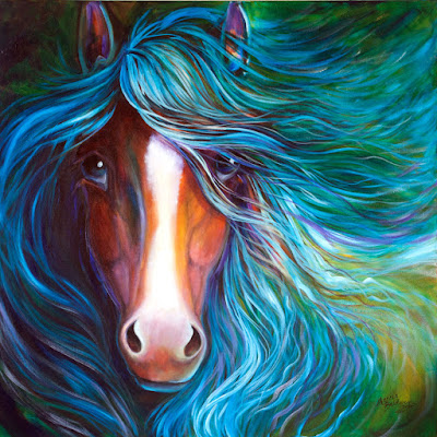 """BLUE MOONDUST EQUINE an original oil painting 30""""x30"""" is now available for a Great Starter price for collectors old and new !!  Come See. http://www.ebay.com/itm/151942614560?ssPageName=STRK:MESELX:IT&_trksid=p3984.m1555.l2649"""