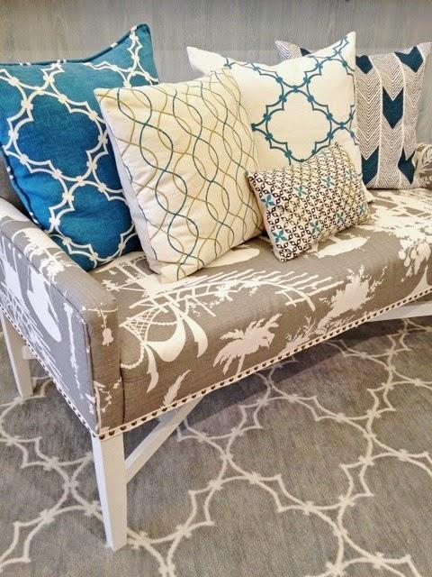 cococozy gray rug blue pillows lotus bleu