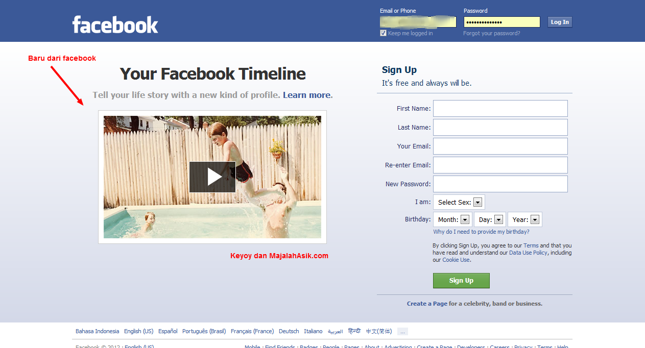 Facebook Log in and Sign Up