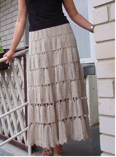 Free Crochet Patterns For Long Skirts : Ivelise Feito ? Mao: Saia Longa Em Croch? Com Grafico