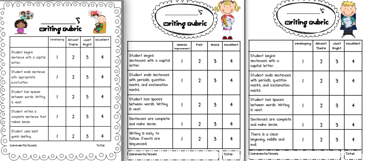 first grade handwriting rubric