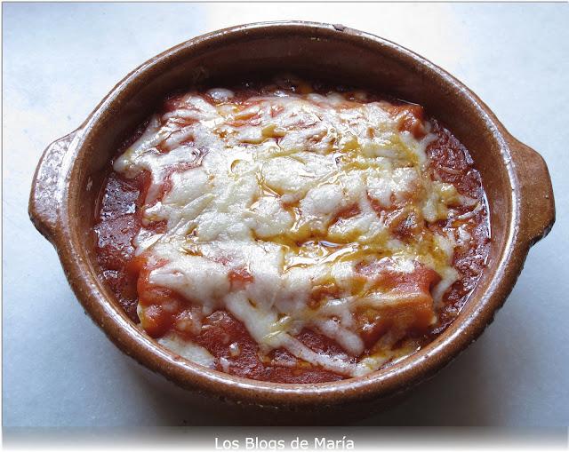 Canelones con salsa de queso