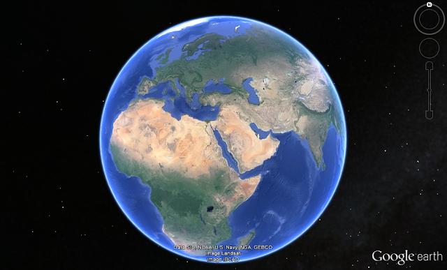 Wo die gewaltige Masse aus der Erde austrat und den heutigen Erdmond bildete. (Bildausschnitt aus Google Earth)