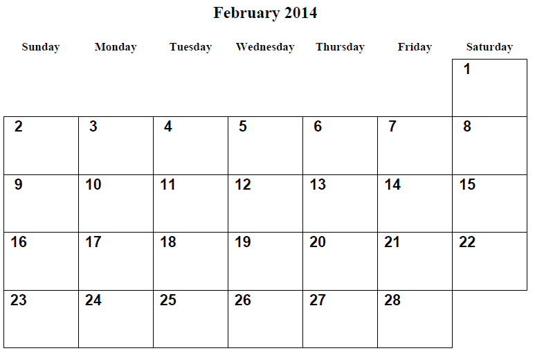 photograph about Printable Calendar Feb. called February 2014 Calendar Printable #2 - Printable Calendar