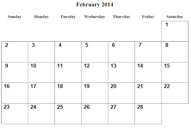 February 2014 Calendar Template   February 2014 Calendar Printable 2 Printable Calendar 2014 Blank